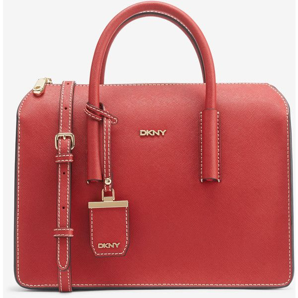 DKNY Saffiano Leather Box Satchel (590 RON) ❤ liked on Polyvore featuring bags, handbags, red, structured satchel, saffiano leather handbags, red satchel handbags, dkny handbags and satchel purse