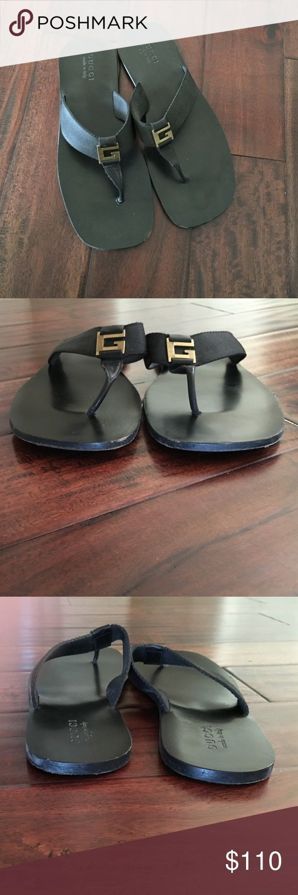 Men Gucci Thong Sandal Black rubber sole thong sandal.  Strap is nylon. Foot bed is leather. Only worn them a few times. Few scrapes in the wooden sole that could be easily filled in. Gucci Shoes Sandals & Flip-Flops