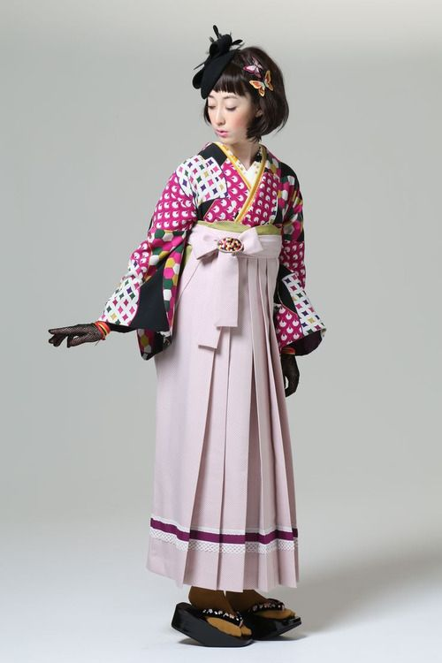 Komon kimono and hakama skirt, by Furifu designers, Japan. Image via Pinterest