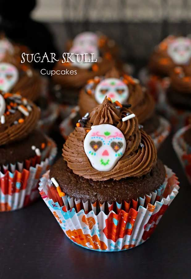 Sugar Skull Cupcakes - They are adorable, delicious & so easy to make. on kleinworthco.com