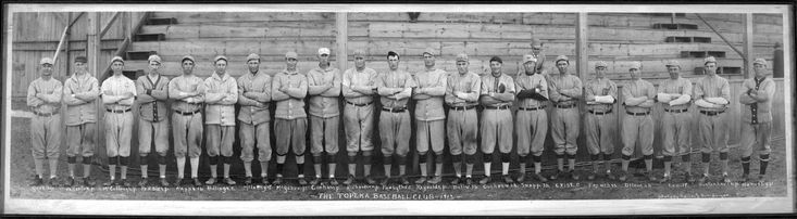 """Topeka Kaws, Western League, 1913. A few players of note: Dale Gear, a key figure in Topeka's early baseball history; Josh Billings, a native of Jefferson County who was a back-up catcher in the majors for 11 seasons; """"Pep"""" Hornsby, brother of Rogers Hornsby; and Polly McLarry, who gets a mention only because he reportedly carried a dead man's finger as his good luck charm. (Kansas Historical Society.)"""