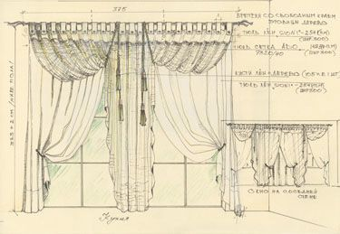 Дизайн штор, портьеры, эскизы и изготовление. Карнизные системы и аксессуары.