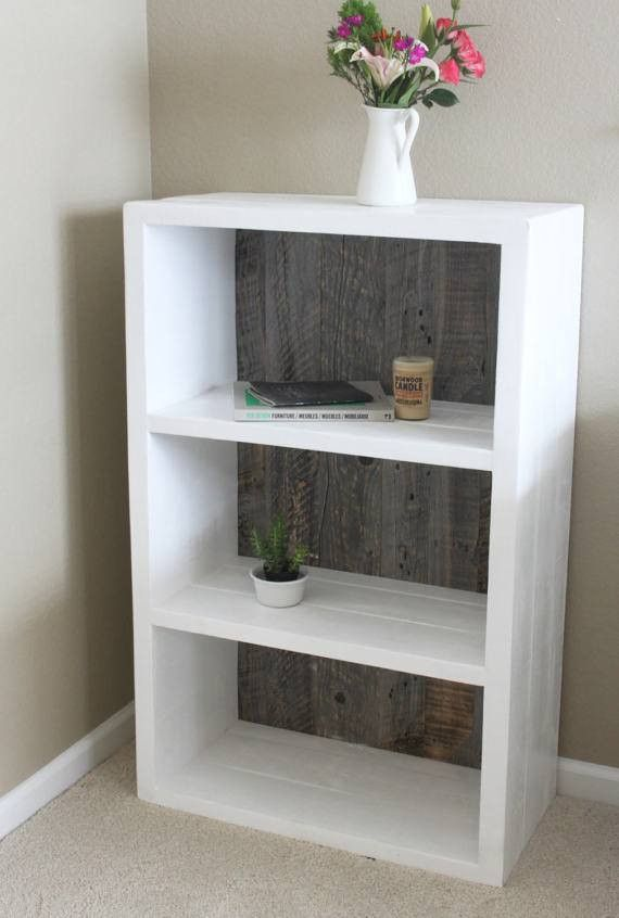 Reclaimed Wood Painted White And Grey Wood Bookshelf, Bookcase   Free  Shipping