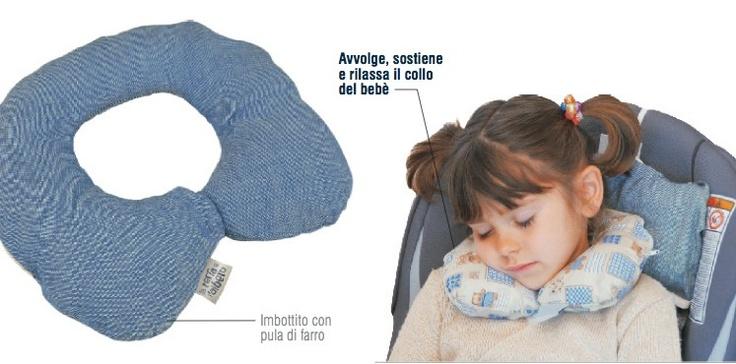 Cuscinetto per il Collo - Riposino Avvolge, sostiene e rilassa la testa del bimbo mentre dorme su ovetto, seggiolino o passeggino. Questo fa in modo che il bimbo non assuma scomode posizioni durante il sonno che potrebbero infastidirlo.