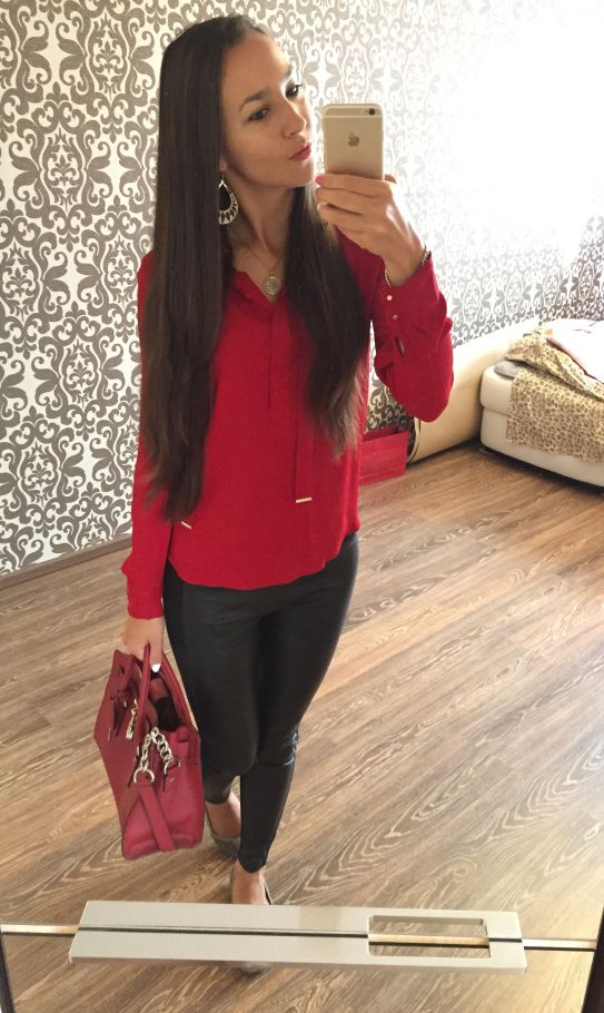 A cool outfit to wear in Fall // Red Zara Blouse with Leather Leggings