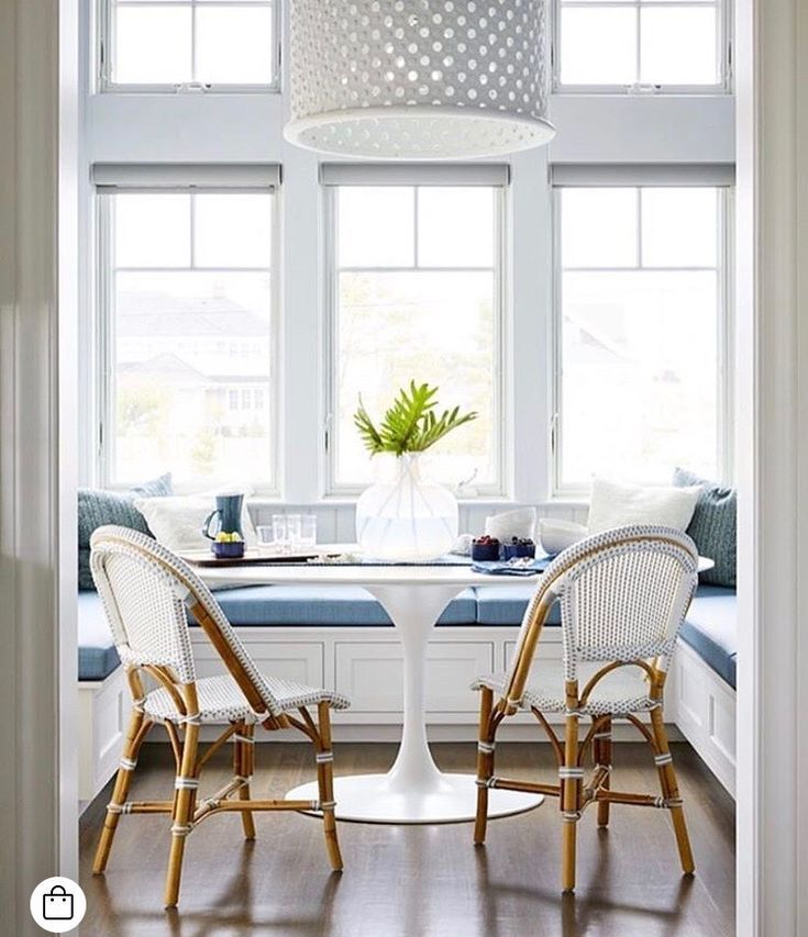 Built In Bench Seating In The Breakfast Nook Transitional Dining Room French Country Family Room Saarinen Dining Table