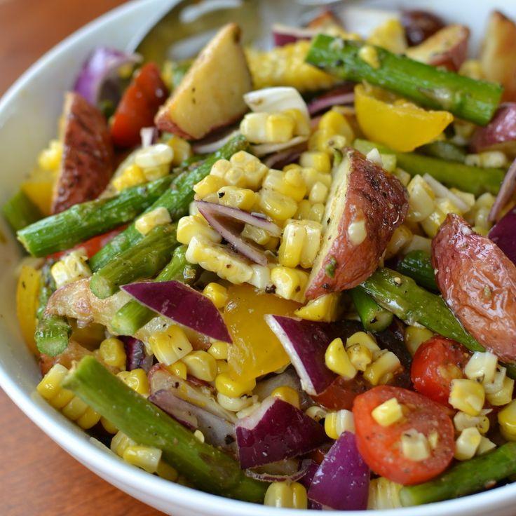 This Roasted Vegetable Salad with Lemon Vinaigrette combines roasted potatoes, corn and asparagus tossed in a fresh lightly sweetened lemon vinaigrette.