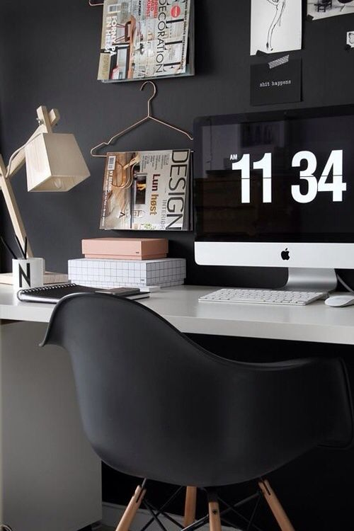 White acrylic top, dark gray wall, and iMac. Yes please