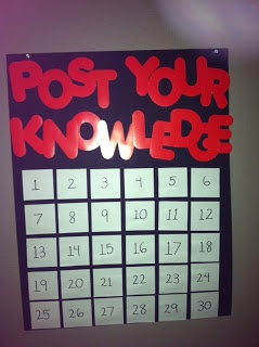 exit ticket board, they could also be asked to post a question about what we covered with the answer, then make it a game show.  Students get on teams, choose a number, they have to answer the question and get a point for getting it right etc.