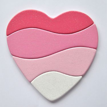 Puzzle for toddlers--heart in pink. Could make a foam puzzle like this heart and store in a zippy bag. I would write # number of puzzle pieces to back of each piece and on zippy bag so parents would know how many parts should be in bag when they return the bag to the narthex.