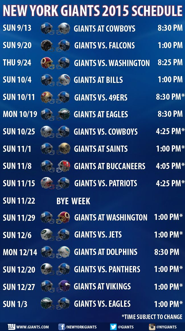 New York Giants 2015 Schedule Announced