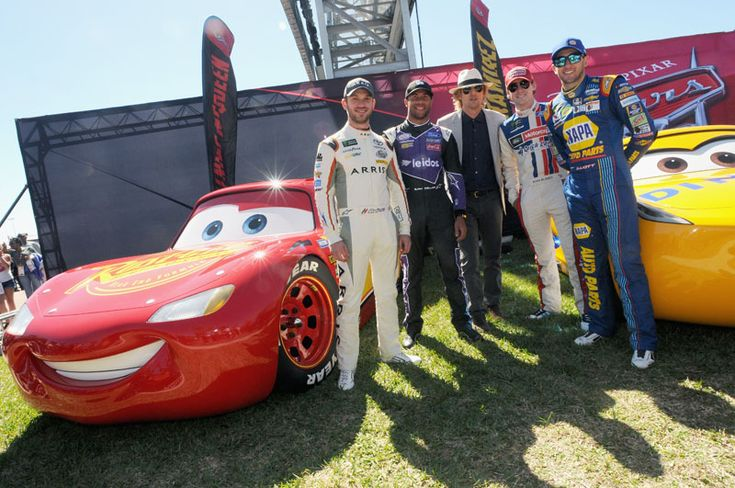 """Meet Two New Cars 3 Characters  -  January 5, 2017:     Cars 3:      DAYTONA BEACH, FL - FEBRUARY 26: Grand Marshal Owen Wilson, voice of Lightning McQueen in """"Cars 3"""" poses with NASCAR racers Daniel Suarez, Bubba Wallace, Ryan Blaney, and Chase Elliott for the 59th Annual DAYTONA 500 at Daytona International Speedway on February 26, 2017 in Daytona Beach, Florida. (Photo by Gerardo Mora/Getty Images for...  More..."""