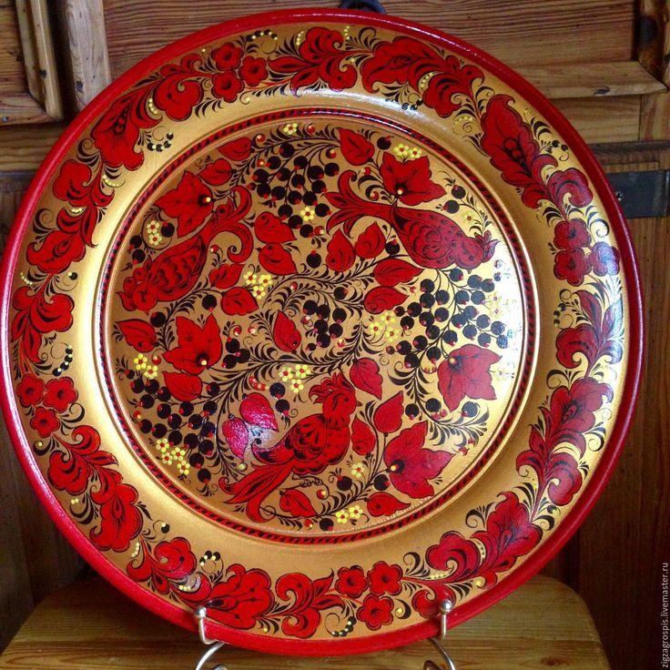 Купить Тарелка-панно деревянная с хохломской росписью Праздничная - ярко-красный, золото, русский стиль