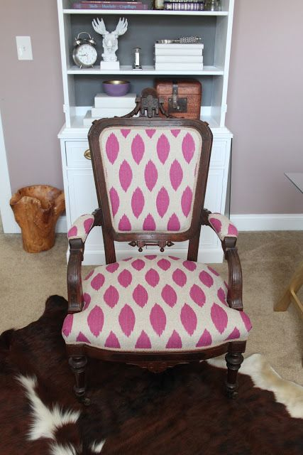 How to reupholster a chair for $12 ~ Recommended by FrugalinFortWorth.com