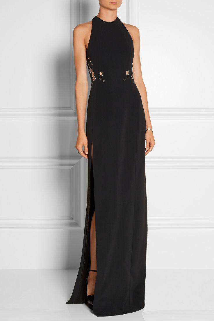 Mugler|Eyelet-embellished stretech-crepe gown|NET-A-PORTER.COM