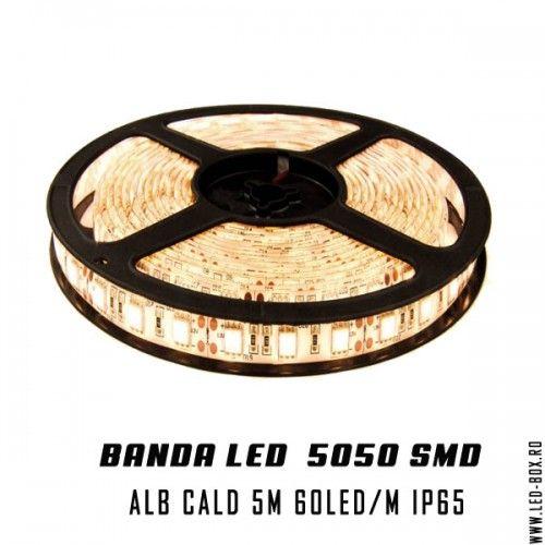 Banda LED smd 5050 12v alb cald ip65 waterproof impermeabila banda cu leduri 5050 monocroma o singura culoare alb cald 3500k sibiu romania livrare 24 ore