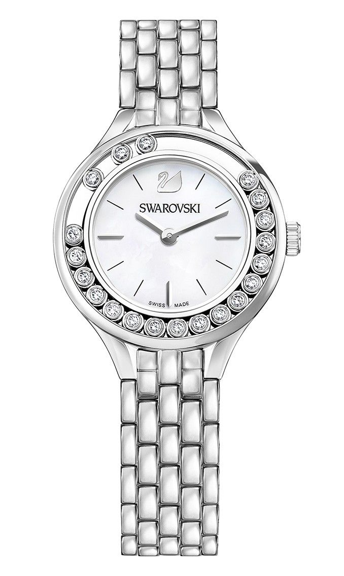 Swarovski Dameshorloge 'Lovely Crystals Mini' 5242901. Elegant en speels vormgegeven horloge met 20 sprankelende Swarovski kristallen, die speels rondom de kast glijden. De stalen, zilverkleurige, kast heeft een Parelmoer wijzerplaat met zilverkleurige index en wijzers. De zilverkleurige horlogeband sluit door middel van een vouwsluiting met drukkers. #staal #kristallen #swissmade #swarovski #staal  https://www.timefortrends.nl/horloges/swarovski.html