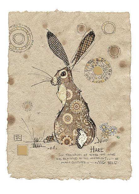 Brown Hare by Jane Crowther. Design for Bug Art greeting cards.