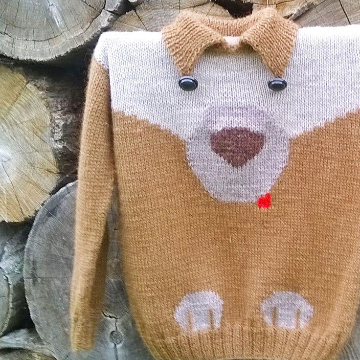 """Свитер детский Друг / Children's sweater """"Friend"""" Ефимке было два годика. Ему в подарок приготовила вот такого друга. Добрый пёсик доброму мальчишечке любимой подруги. Думаю, что понравится и будут носить с удовольствием. Свитерок не колется, связан из кашемира, резинки эластичные, воротничок свободный, швы плоские.  #свитервязать #вяжут_спицами #вяжу #вязание_спицами #вязание_на_спицах #cвитервподарок #любимымдетям #вяжу_сама #свитер #пуловер #cвитер #подарок#ярмаркамастеров…"""