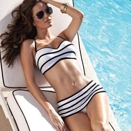 Swimwear. The pool. bikini, stripes, sexy swimsuit swimwear