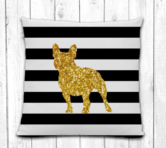 French+Bulldog+Silhouette+Pillow++Black+and+by+sophisticatedpup