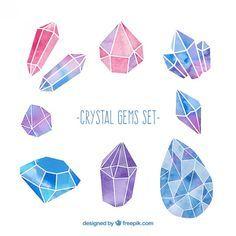 設定水彩結晶宝石 無料ベクター