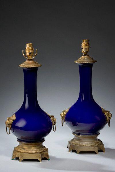 Par de finales de los 19 del siglo porcelana Lámparas