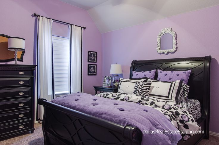 Lavender bedroom teen room decked out in black furniture for Bedroom furniture 75034