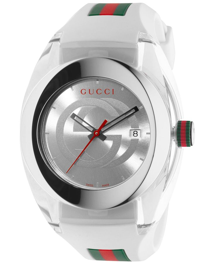 Gucci Sync Unisex Swiss White Striped Rubber Strap Watch 46mm YA137102 - Gucci - Jewelry & Watches - Macy's