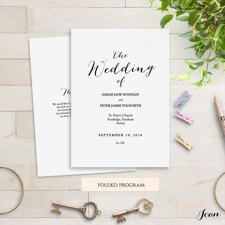 Printable folded wedding order of service template