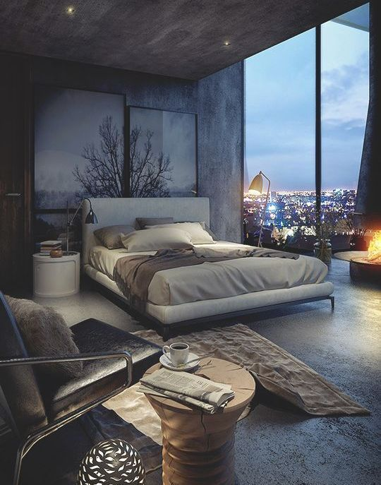 Modern grey toned bedroom with tree picture and stunning view.