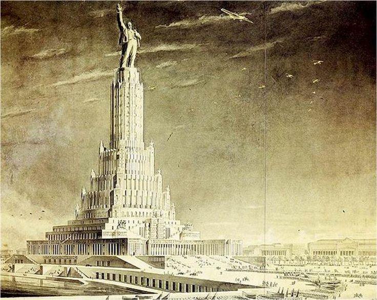 Beautiful  wurde die Ausschreibung f r den Sowjetpalast ver ffentlicht Sie umfasste mehrere Phasen Der Palast