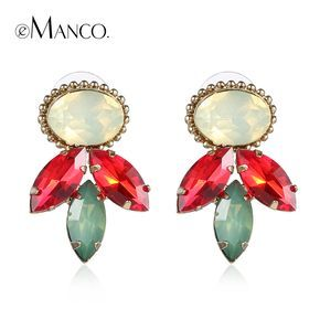 Red crystal stud earrings gold plated colorful crystal stud small geometric earrings for women  boucle d'oreille ER50585