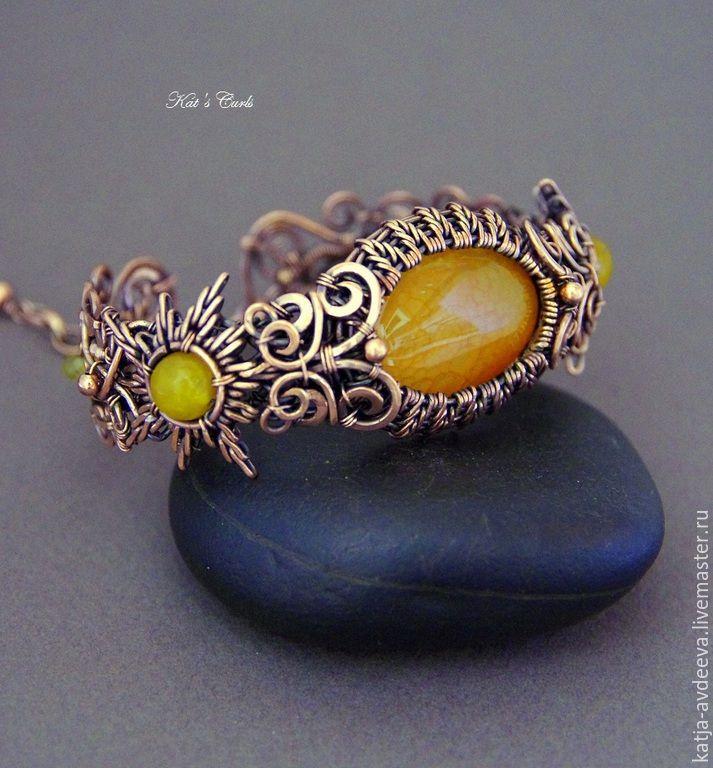 Купить Медный браслет Солнышки - желтый, ярко-желтый, солнце, солнышко, медный браслет