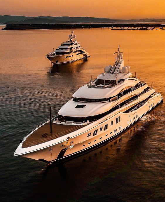 Beautiful sunset view of the luxury yachts. #yachtcharter #yachting #charter #ta…