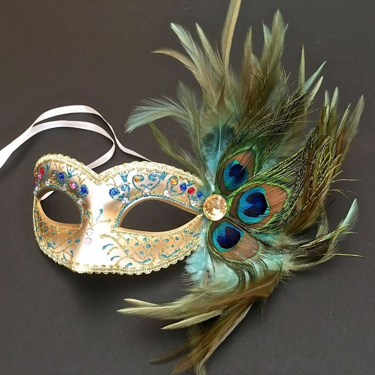Peacock Feather Women Venetian Masquerade Costume Prom Party Mask #Handmade