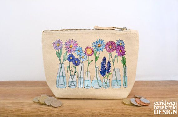 Hey, I found this really awesome Etsy listing at https://www.etsy.com/uk/listing/227437194/flowers-canvas-zip-purse-makeup-bag-coin