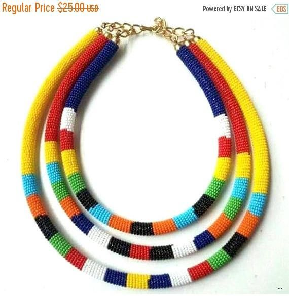 BEADED JEWELRY, Bohemian Jewelry, Zulu Jewelry, African Jewelry, Ethnic Jewelry, Masai Jewelry, Navajo Jewelry, Native American Jewelry, Ethnic Jewelry. Get this absolutely beautiful and colorful Necklace shipped directly to your doorstep for the rock bottom price of $20! It has