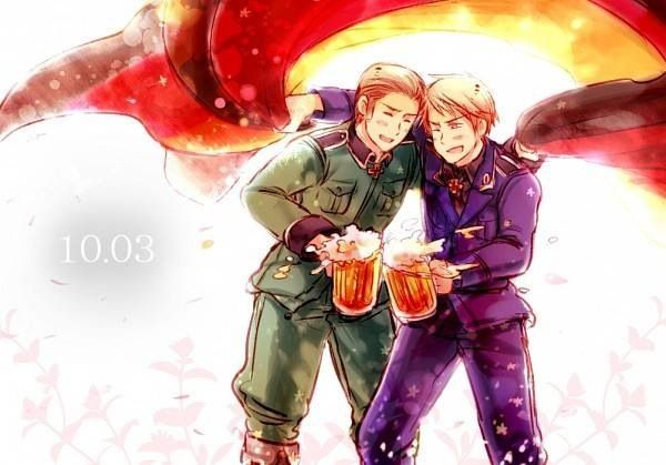 Germany and the AWESOME PRUSSIA - hetalia October 3, 1990- reunification of Germany