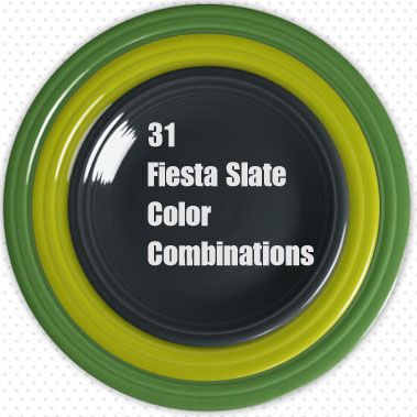Fun way to check out great color combinations and start thinking of how you can mix & match Fiesta Slate with other Fiesta colors - 31 Fiesta Slate Color Combinations! http://drdinnerware.blogspot.com/2015/06/31-fiesta-slate-combinations-youll-want.html
