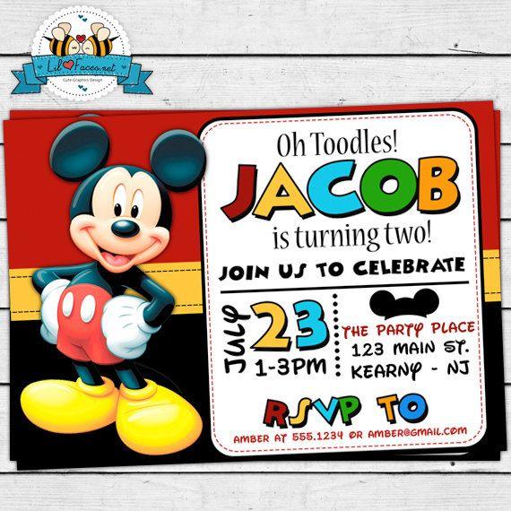 Cute Mickey Mouse Birthday Party Printable Invitation Barrett S