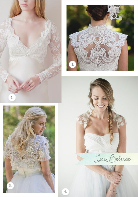 Lace Boleros: 1. French ace Ivory Bolero, 2. Wedding Bolero French Alencon