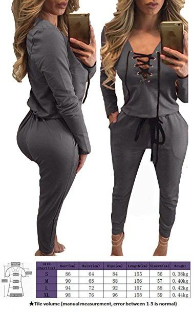 f31ce764953f Women's Sexy Lace Up Drawstring One Piece Jumpsuit Rompers Gray L ...
