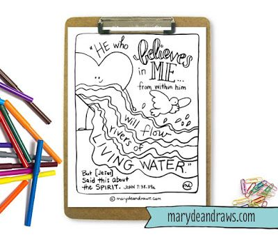 """FREE """"rivers of living water"""" John 7:38 printable Scripture coloring page"""