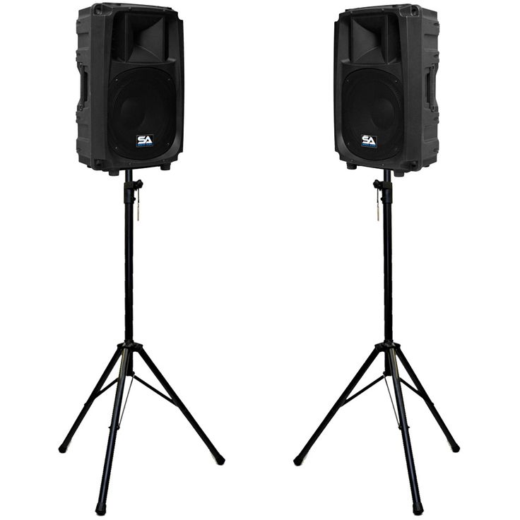 Pair of Molded 2-Way 12 Inch Powered PA Speaker Cabinets with Stands