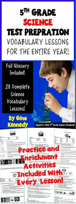 5th Grade Science Vocabulary Activities and Enrichment Extensions for the Entire Year! 28 weekly science vocabulary lessons that include a vocabulary activity, and three extension differentiated writing projects. The lessons reinforce the important science terminology that students need to be successful in science in 5th grade. A complete glossary is included with this product!$