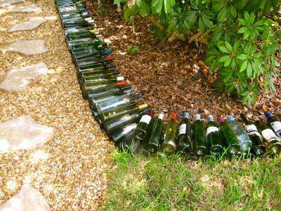 wine bottle garden border | 1 mans trash is my.... | Pinterest