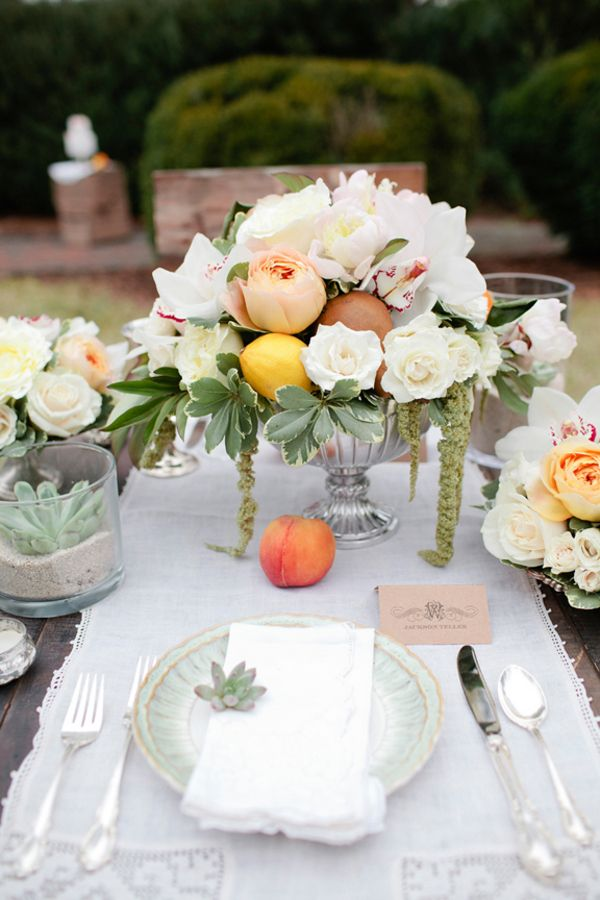 Peaches and mint green table setting. Design by ElissaKeno.com shot by KellieKanoPhotography.com