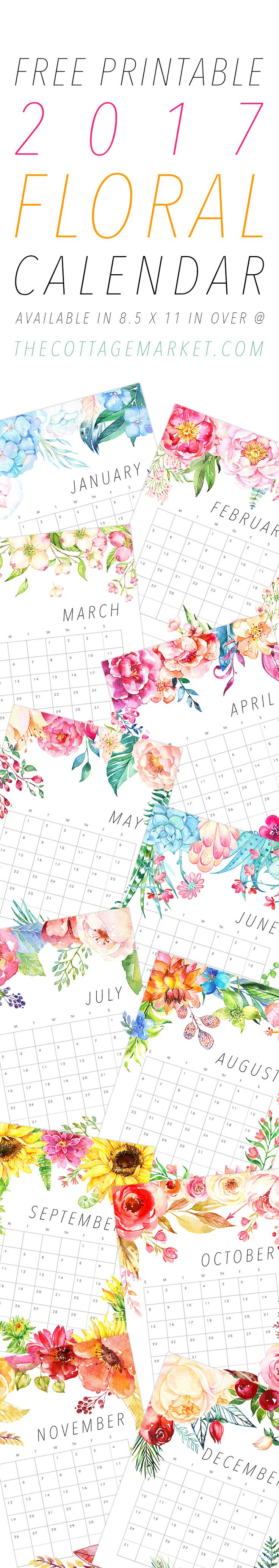 A Beautiful Free Printable 2017 Floral Calendar that you will enjoy all year round! The Cottage Market