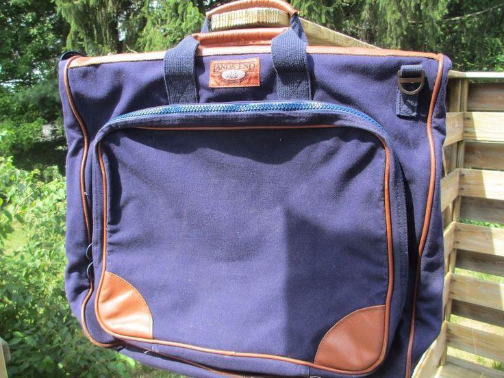 Vintage Lands End Square Rigger Blue Canvas Leather Garment Bag Carry-On Luggage #LandsEnd